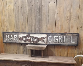 River Rat Bar & Grill/Rustic/ Wood /Sign/Catfish/Cabin/décor/Lodge/Fishing/Marina/Boat Dock/Restaurant/Bar/Man Cave