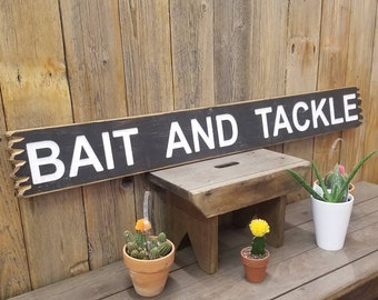 BAIT AND TACKLE Rustic Engraved Wood Sign, Marina, Boat Dock, décor, Fishing Supplies, Lake, River, Bait Shop