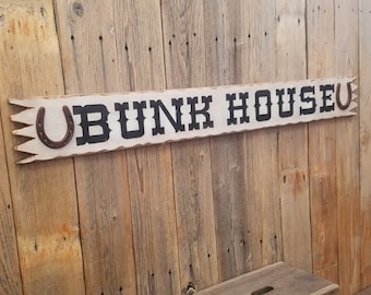 BUNK HOUSE/Rustic/Carved/Wood/Sign/Horseshoes/Cowboy/Western/Cabin/Lodge/Bedroom/Guest House/Ranch/Barn/Bedroom/Cowgirl
