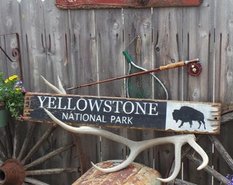 Lg YELLOWSTONE NATIONAL PARK Distressed Wood Sign/Buffalo/Bison/Rustic/Cabin/Lodge/Camping/Wyoming/Vintage/Free Shipping