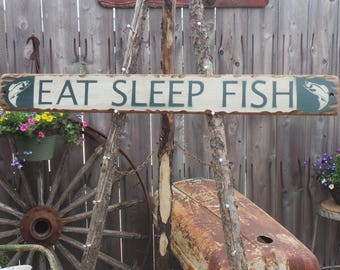 EAT SLEEP FISH Rustic Wood Sign, Cabin, Lodge, Boat dock decor, Man Cave, Gift for Him