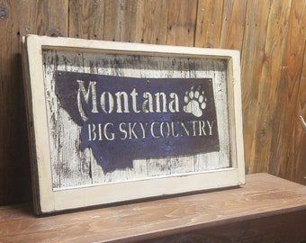 MONTANA Big Sky Country Rustic Sign,Vintage Window,Cabin decor,Lodge decor,Home decor,Ranch decor,Montana sign, Free Shipping