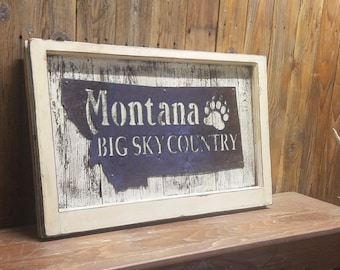 MONTANA Big Sky Country Rustic Sign,Vintage Window,Cabin decor,Lodge decor,Home decor,Ranch decor,Montana sign