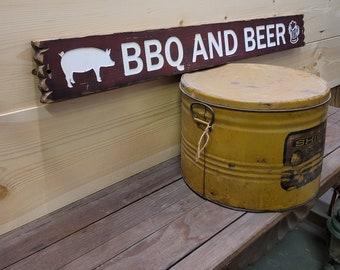 BBQ & BEER Rustic Wood Sign/ Man cave/Bar/ Deck/Patio/Man Cave/ Restaurant/bbq décor/Kitchen/Café