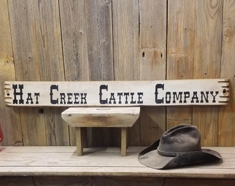 HAT CREEK CATTLE Company/Wood/Sign/Western/Cowboy Sign/Lonesome Dove/Cowgirl/Old West/Lodge/décor/Ranch