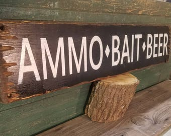 Fishing Sign,AMMO-BAIT-BEER,Rustic Wood,Cabin decor, Camping,  Fishing,  Boat Dock , Hunting, Marina, Free Shipping