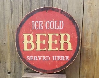 ICE COLD BEER Served Here/Wood/Sign/Bar/Man Cave/Drinking/Patio/Deck/Décor