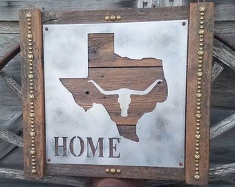 TEXAS HOME/Longhorn/Rustic/Sign/Cabin/Decor/Lodge/Ranch/Wood