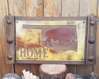 OKLAHOMA HOME/Buffalo/Rustic/Sign/Cabin/Decor/Lodge/Ranch/Bison/Wood