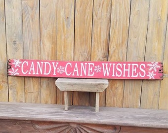 CANDY CANE WISHES/wood sign/Holidays/Porch/Home/Cabin decor/Winter/Gift/Christmas sign