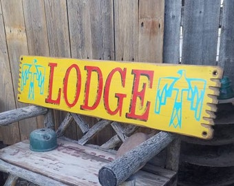 LODGE/ Distressed/rustic/south west/wood sign/Lodge/Thunderbird/Arizona/XL
