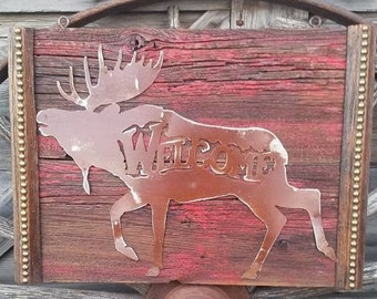 MOOSE WELCOME/Rustic/Sign/Cabin/Decor/Lodge/Wood/Home