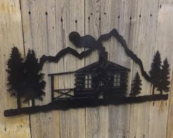 LOG CABIN Metal Scene/Large/lodge/Home/Sign/decor