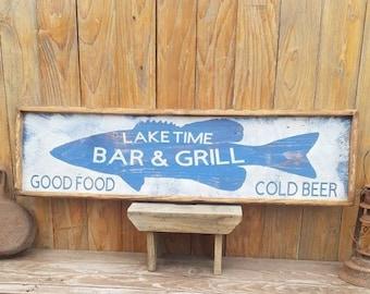 Lake sign/Lake Time Bar & Grill Cold Beer Good Food Rustic Wood Sign/Bass/Cabin decor/Lodge/Fishing/Marina/Boat Dock/Restaurant/Bar