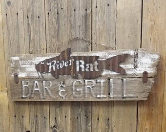River sign/River Rat Bar & Grill/Rustic/ Wood /Sign/Catfish/Cabin decor/Lodge/Fishing/Marina/Boat Dock/Restaurant/Bar