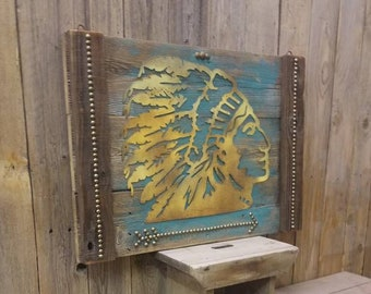 Native American Indian Chief/Rustic Wood Sign/Cabin/Lodge/Home/Decor/Southwest/Santa Fe/Style