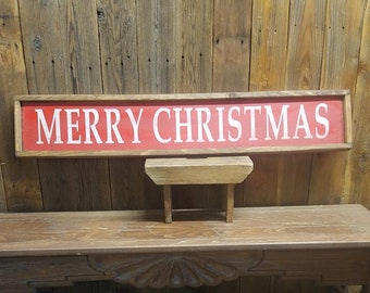 Christmas Sign/Christmas decor/MERRY CHRISTMAS  Framed Rustic Sign/Holidays/Porch decor/Home decor/Cabin decor/Winter/Gift