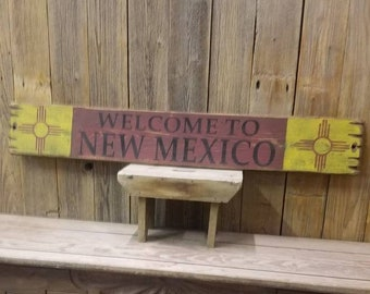 WELCOME to NEW MEXICO Rustic Wood Sign/New Mexico State Flag/Zia/Home/Cabin decor/Lodge