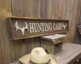 HUNTING CAMP/Rustic Wood Sign/Cabin/Lodge/Decor/Man Cave/Deer/Buck/Skull