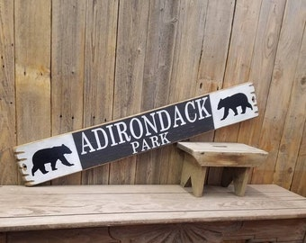 ADIRONDACK PARK Distressed Wood Sign/New York State Park/Bear sign/Rustic/Mountains/Lakes/décor
