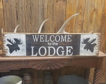 WELCOME to the LODGE Rustic Wood Sign,Cabin decor,Home decor,Lodge decor,Ranch decor,Moose,Hunting Lodge, Free Shipping