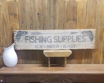 FISHING SUPPLIES Ice Beer Bait Rustic Wood Sign,Cabin decor,Lodge decor,Tackle,Marina,Lake,Boat Dock