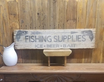 FISHING SUPPLIES Ice Beer Bait Rustic Wood Sign,Cabin decor,Lodge decor,Tackle,Marina,Lake,Boat Dock, Free Shipping