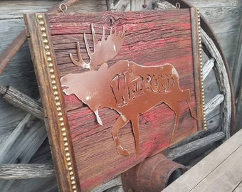 Moose Welcome Signs, Christmas Moose, Rustic Repurposed Wood, Moose Décor, Gift, Cabin, Lodge