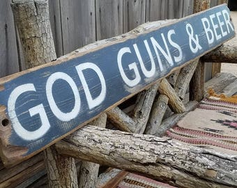 Bar sign,God Guns & Beer Rustic Wood Sign, 2nd Amendment, Bar,Tavern, Man Cave sign, Handmade, Patio decor,Gift for him, Free Shipping