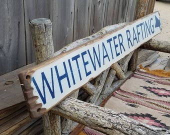 WHITEWATER RAFTING  Rustic Wood Sign,Distressed,River,Canoe,Kayak,Cabin decor,Lodge decor, Handmade, Free Shipping