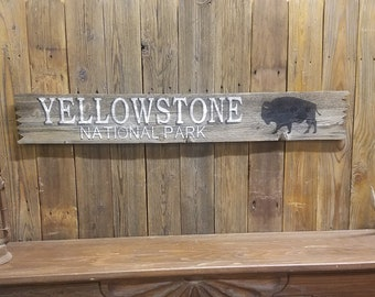 YELLOWSTONE NATIONAL PARK Rustic Wood Sign, Buffalo, Bison, Cabin decor, Lodge, Wyoming, Montana, Idaho