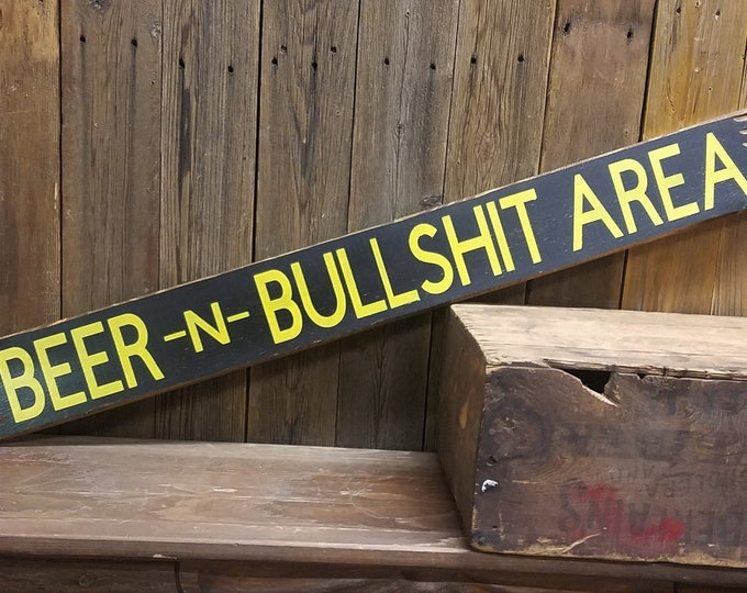 Featured listing image: Bar Sign, Tavern Sign, BEER & BULLSHIT Area Rustic Wood Sign,Man Cave,Porch decor, Patio decor, Garage,BBQ,Gift