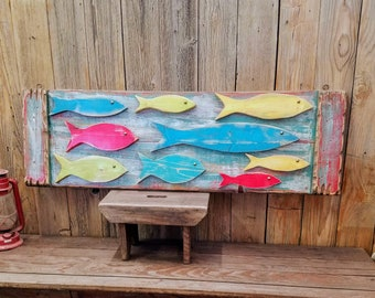 Folk Art Fish /Cabin decor/Lodge decor/Fishing/Gift/Repurposed Wood/Rustic/Lake/River/Coastal/Beach/Primitive