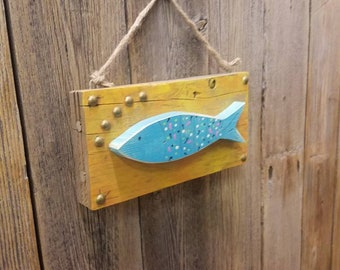 Folk Art Fish /Cabin/Lodge/decor/Fishing/Gift/Repurposed Wood/Rustic/Lake/River/Coastal/Beach