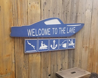 Welcome to the Lake Engraved Wood Sign, Lake House sign, Boat Dock, Marina, Boat sign,  Recreational, Décor, Water Skiing, Water Sports