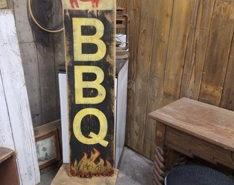 BBQ sign, Patio Sign, Man Cave Sign, BBQ Pig Sign, BBQ decor, Restaurant decor, Restaurant Sign
