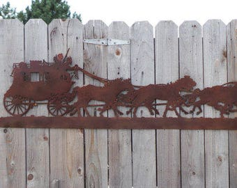 Western, Cowboys, Ranch decor, Old West,Rustic Metal Stagecoach Silhoutte with Horses, Rusty metal sign, Saloon, Horses, Cabin, Home decor