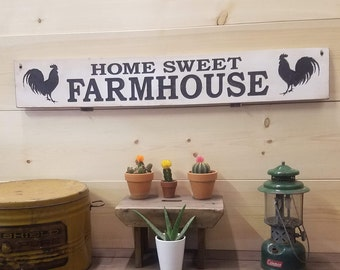 Home Sweet Farmhouse Rustic Carved Wood Sign, Welcome Sign, Roosters,  Chickens, Farmhouse style, Family room, Living room, Chicken Coop