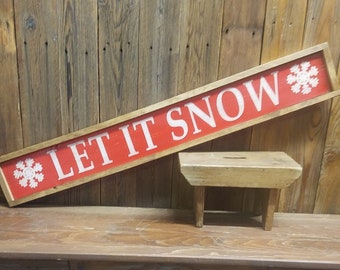 LET IT SNOW Framed Rustic Wood Sign/Winter/Holidays/Snowflakes/Home decor/Cabin decor/Porch decor/Christmas/Farmhouse decor