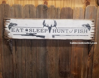 Hunting sign/Fishing Sign/Eat Sleep Fish Hunt Rustic Wood Sign/Cabin decor/Lodge decor/Trout/Deer skull/Rifle/Fishing Pole/Man Cave sign