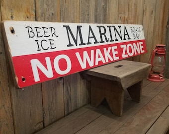 MARINA Beer Ice Boats Bait No Wake Zone/Carved/Rustic/Wood/Sign/Fishing/Lake/ décor/Lake House/Cabin/Man Cave/Boat Dock