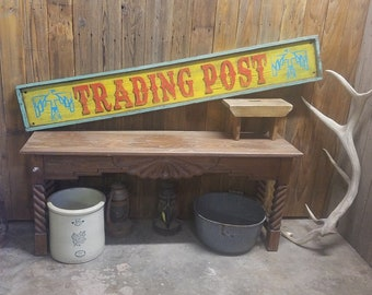 Trading Post Distressed rustic south west wood sign,Lodge,Thunderbird, Arizona,XL sign