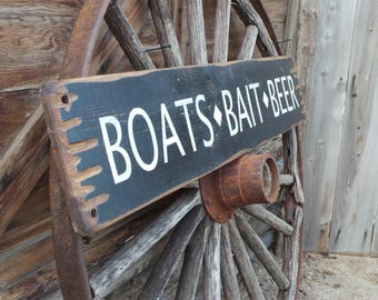 Lake/River House Sign BOATS BAIT BEER Rustic Wood, Cabin, Camping, Fishing, Boat Dock, Man Cave