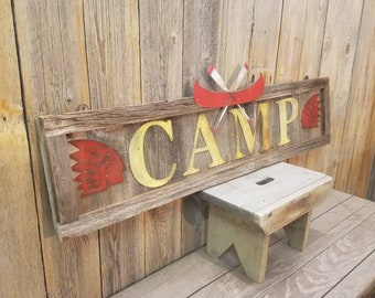 CAMP sign/Canoe Rentals/Rustic Wood Sign/Cabin decor/Lodge/Fishing/Marina/Boat Dock/Indian/Canoe Paddles