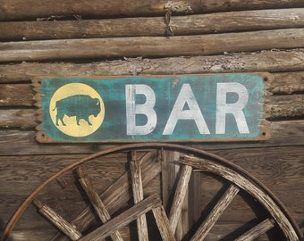 BAR/Buffalo/Rustic/Western/Cabin/Wood/Sign, Beer, Drinking, Man Cave, Tavern, Bar decor, Saloon, Whiskey, Bison