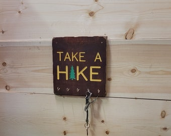Take A Hike Key Holder/Hat Rack/Pet Leash Holder/Rustic Carved Wood/RV/Décor/Home/Cabin/Recreational Icon/Hiking