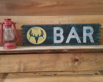 BAR/Deer Skull/Rustic/Wester/Cabin/Wood Sign, Beer, Drinking, Man Cave, Tavern, Bar decor, Saloon, Whiskey