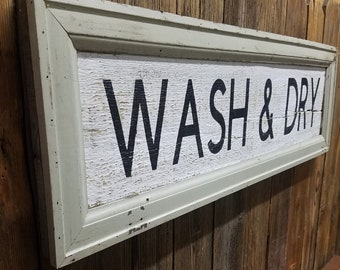 WASH & DRY Rustic Wood Sign, Farmhouse style, Home decor, Cabin, Laundry room ,laundry mat,Vintage inspired,Antique molding