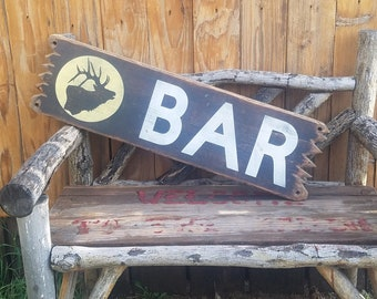 BAR With Elk/ Rustic/Western/Cabin/Wood Sign, Beer, Drinking, Man Cave, Tavern, Bar decor