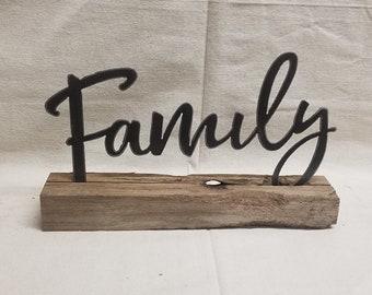 Farm house sign, Family sign, Metal Family on wood block, Home decor, Mantel decor, Shelf sitter, Free Shipping